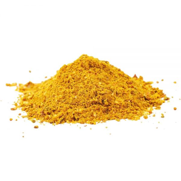 Pile of powdered curry spice isolated